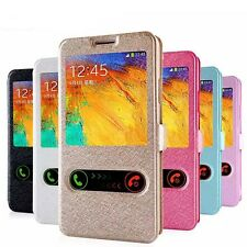 Brand PU Leather W-View Stand Flip Case Cover For Samsung Galaxy S4 S5 Note 3 /2
