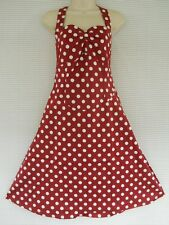Plus 50s Rockabilly Red White Polka Dot Halter Party Swing Dress 20 22 24 26