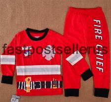 Fireman Chief Cotton Boys Toddler Kid Pajamas Pyjamas Costume Party  Set 1-6