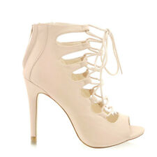 Avenue05.com New Glamour Women's Lace Up Sandals High Heels Ankle Boots Nude