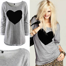 Women Lady Fashion Cute Heart Love Round Neck Long Sleeve Top T-shirt Blouse New