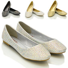 New Women Diamante Bridal Sparkly Bridesmaid Ballerina Pumps Shoes Size