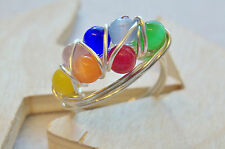 CHAKRA RING PERMANATE GOLD or SILVER PLATE WIRE WRAPPED 7 Colors CAT'S EYE BEADS