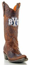 GameDay Women's Cowboy Boots Brigham Young University BYU Cougars Leather Brown