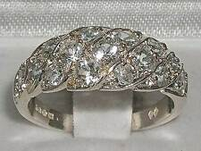 Luxury Ladies Solid 925 Sterling Silver Natural Sparkling Aquamarine Band Ring