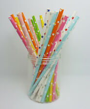100 Paper Straws Colorful Star Pattern Drinking Straw For Party Wedding Birthday