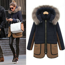 New Women Vintage Long Coat Warm Winter Fur Hooded Parka Overcoat Jacket Outwear