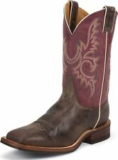 Men's Bent Rail Justin Cowboy Boots Brown Made In USA Wide BR373