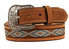 Ariat Western Mens Belt Leather Ribbon Inlay Diamond Concho Brown A1018248