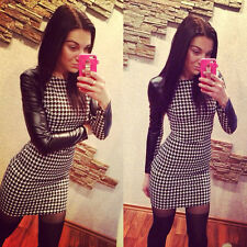 Fashion Sexy Woman Bodycon Bandage Houndstooth Cocktail Evening Club Party Dress
