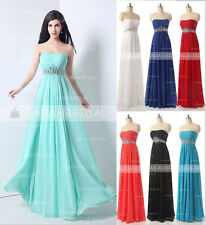 2015 Fashion Strapless Chiffon Long Bridesmaid Dresses Prom Party Evening Gowns