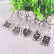 Hot Heart  Shaped Insert Photo Picture Frame Keyring Alloy Keychain Split Ring