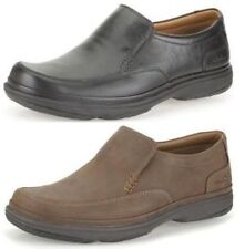 SWIFT STEP-MENS CLARKS BLACK,TAN LEATHER CASUAL SMART EXTRA WIDE SLIP ON SHOES