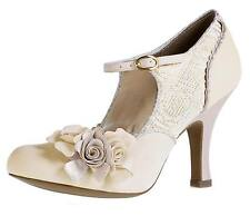 RUBY SHOO EMILY CREAM GOLD FLOWER MARY JANE VINTAGE STYLE HIGH HEEL SHOES SZ 3-8