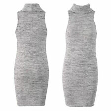 NEW WOMENS LADIES GREY COWL NECK DRESS STRETCH SLEEVELESS POLO LOOK KNITTED TOP