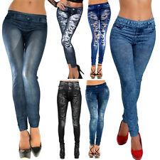 Women Faux Denim Jeans look Stretchy Pencil Leggings Jeggings Tight Pants