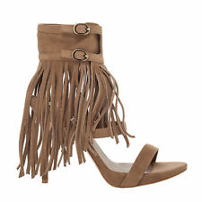 Max Studio Evi – Suede Ankle Wrap Sandals With Fringe