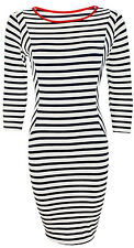 Womens Contrast Navy and White Striped Bodycon Pencil Casual Dresses Size 8-14