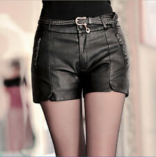 Womens Ladies Real Sheep Leather Pants Plus Size Low Waist Punk Shorts Black Sz
