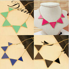 Women New Fashion Triangle Pendant Chain Choker Chunky Statement Collar Necklace
