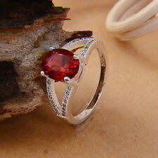 lady's 925 Sterling Silver Ruby & White Sapphire Wedding Ring size 6/7/8/9