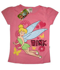 TINKERBELL Girls pink cotton summer t-shirt Size 6-8-10-12 Age 3-8 yrs Free Ship