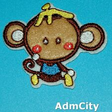 Monkey Iron on Patch Embroidered Applique Animal Cute Badge Retro Baby Biker