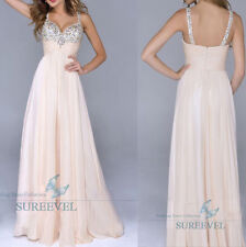 Stock Long Sleeveless Evening Ball Gowns Cocktail Prom Dress Bridesmaid Dresses