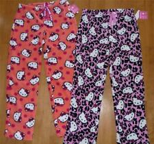 Womens HELLO KITTY Fleece Pajamas Sleep Lounge Pants Size S M L Pink Coral NWT