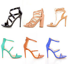 Lot Womens Strappy Single Sole Heels Faux Suede Leather Wrap Around Tie Shoes