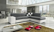 NEW CATANIA LEATHER CORNER SOFA SUITE WITH STORAGE & DOUBLE BED