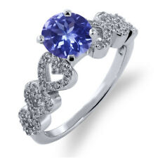 1.62 Ct Round Blue Tanzanite 925 Sterling Silver Ring