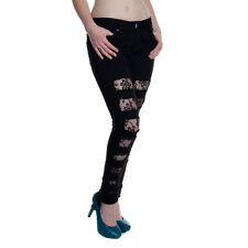Criminal Damage Jeans Womens Ripped Black Lace Skinny Trousers Slim Skinnies