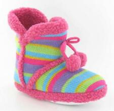 Girls Ladies Pink Knitted Bootie Style Warm Stripped Slippers Size UK 4-5