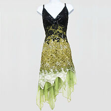 New 1920s gatsby vintage flapper lace sequin black green party dress UK 8 to 18