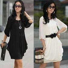 Womens Short Sleeve Chiffon Mini Dress Ladies Fashion Party Dress Summer 2Colors