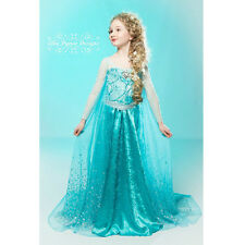 2015 Hot Girls Snow Queen Frozen Princess Elsa Fancy Dress Birthday Party Costum