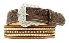 Nocona Western Mens Belt Leather Tooled Ribbon Studs Brown N2475002