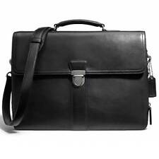 COACH 70952 Bleecker Flap Brief in black leather with gold or silver hardware