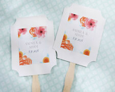 Personalized Spring Pink Orange Floral White Hand Fans Wedding Favor Asst Qty