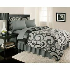 NEW Bed Bag Twin Full Queen King 8 pc Gray Scroll Stripe Comforter Sheets Set