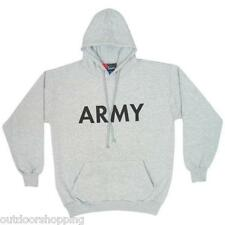 Heather Grey US ARMY IMPRINTED CASUAL PULLOVER SWEATER - Winter, Drawstring Hood
