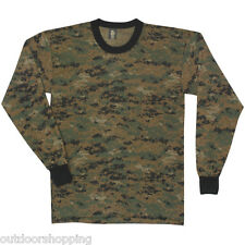 Digital Woodland Camouflage LONG SLEEVE T-SHIRT- Tee, Sun/Mosquitoes Protection