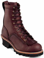 Men's Chippewa 8-Inch Lace-To-Toe Logger Oiled Redwood Leather 73075 Medium