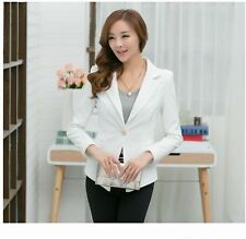 Womens white Blazer Jacket Suit Work Casual Basic Long Sleeve Button fit
