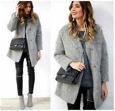 ZARA WOMAN BEAUTIFUL GREY MOHAIR  WOOL BLEND BLAZER JACKET COAT all sizes NEW