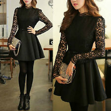 Trendy Womens Winter Spring Lace High Collar Long Sleeve Mini Dress With Belt