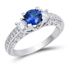 Sterling Silver 925 ROUND BLUE SAPPHIRE CLEAR CZ DESIGN ENGAGEMENT RING SIZE4-10