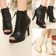 Womens Peep Toe Lace Up Ankle Boots High Heels Pumps Stiletto Platform Booties