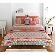 Aztec Inspired Duvet Quilt Cover with Geometric Abstract Print in Terracotta